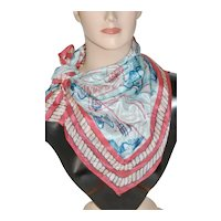 """Turquoise Coral Silk 29"""" Square Scarf"""