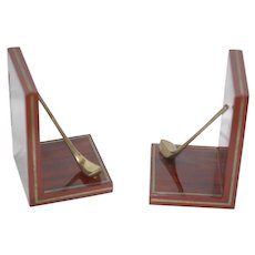 Laquered Laminated Wood Brass Golf Club Book Ends