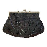 Vintage Black Bead Purse, Ex Cond