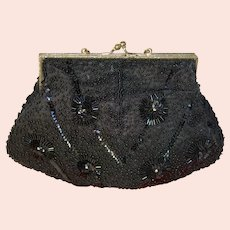 Vintage Black Bead Purse, Ex Cond