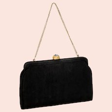 Vintage Black Fabric Clutch w Folding Gold Chain Handle
