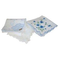 Set of 3 Vintage Blue Hanki Handkerchief