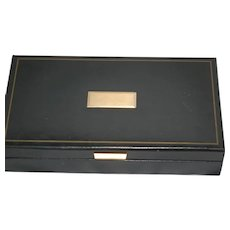 Men's Blk Leather Cuff Link Tie Clasp Coin Box