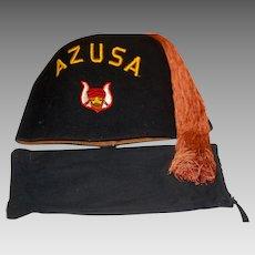 Vintage Shriner Masonic Fez Hat w Bag