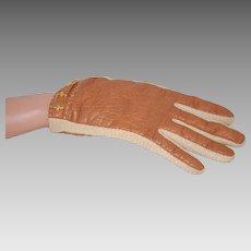 Warm Lined Vintage Leather Kid Glove w Knit Panels