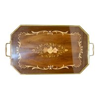 Lg Vintage Italian Marquetry Inlaid Wood Tray