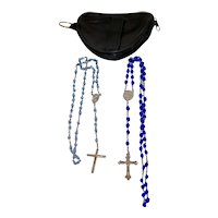 Vintage Soft Leather Pouch w 2 Blue Crystal Rosary