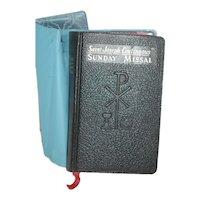 c 1961 Leather Missal w Blue Vinyl Cover Jacket