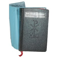 c 1961 Leather Missal w Blue Vinyl Cover Jacket