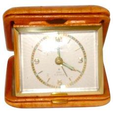 Vintage German Folding Travel Clock in Lthr Case
