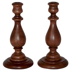 """Estate Solid Wood Turned Candle Holders 9"""" Tall"""