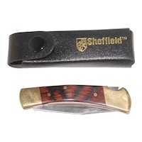 Sheffield Lockback Pocket Knife w Belt Case