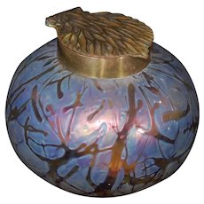 Iridescent Bohemian Art Glass Ink Well Pulled Feather Lid