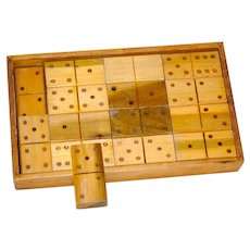 Old X-Large Set Wooden Dominos In Wooden Box & Orig Cardboard Box