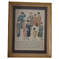 Framed 1922 Fashion Plate from People's Home Journal Oct 1922