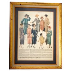 Oct 1922 Framed Fashion Plate from People's Home Journal