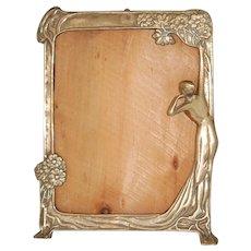Large Art Nouveau Picture Frame w Lady Figure 12x10