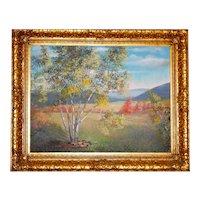 Original Lila Shelby Landscape c1953 in Ornate Gold Frame