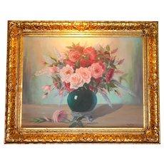 Original 1953 Lila Shelby Ornate Frame Oil Still Life 33x36
