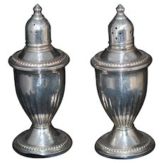 Sterling Silver Salt Pepper Glass Lined, EX c1940