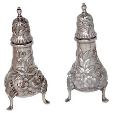 Antique Sterling Silver Repousse Salt Pepper