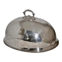 Antique Silverplate Meat Dome w Eagel