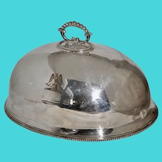 Antique Silverplated Meat Dome w Eagel