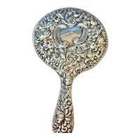 Sterling Silver Repousse Art Nouveau High Relief Hand Mirror