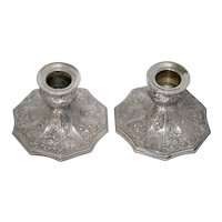 PAIR Antique Silver Repousse Candle Holders