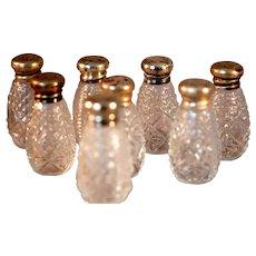 Set of 8 Individual Sterling Top Salt Shakers Hallmarked