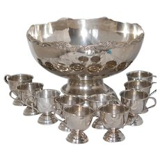 Vintage Silverplate Punch Bowl Set 10 Cups