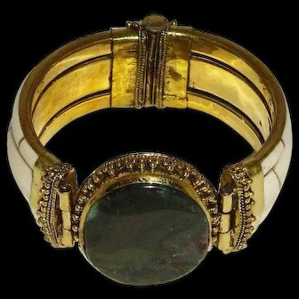 Vintage2-Part Bone, Brass & Green Agate Bracelet