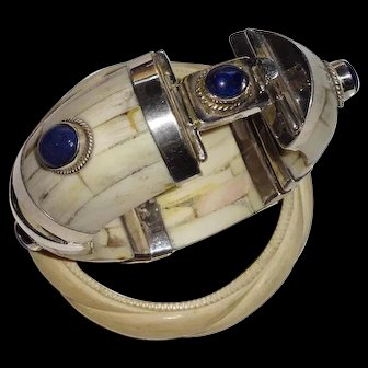 Vintage Handmade 4-Part Inlaid Bone Bracelet with Silver Findings and Inset Lapis Lazuli Stones