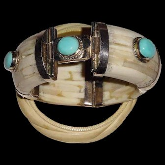 Vintage Handmade 4-Part Inlaid Bone Bracelet with Silver Findings and InsetTurquoise Stones