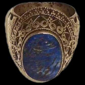Vintage Afghan Tribal Silver & Lapis Ring with Arabic Inscription