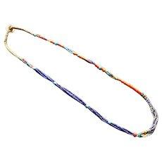 Designed Antique Naga Glass Trade Bead Necklace - Cobalt