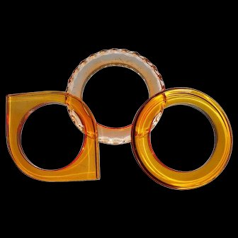 Vintage Set of Three Lucite Acrylic Assorted Bangles