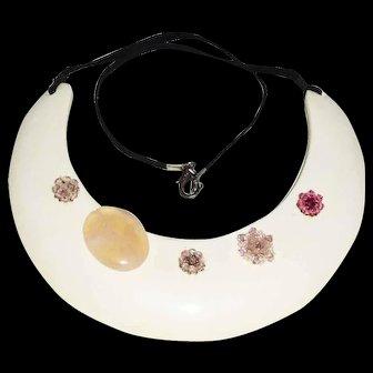 Vintage Resin Pectoral Necklace with Semiprecious & Crystals