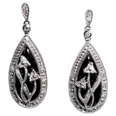 Fancy 10K White Gold Onyx Diamond Dangle Earrings