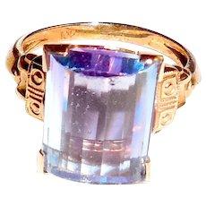 10K Rose Gold Synthetic Alexandrite Color Change Ring Violet Blue Purple Size 5.5