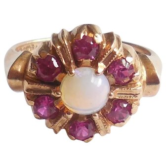 Vintage Chunky 10K Rose Gold Opal Ruby Ring Size 6.5