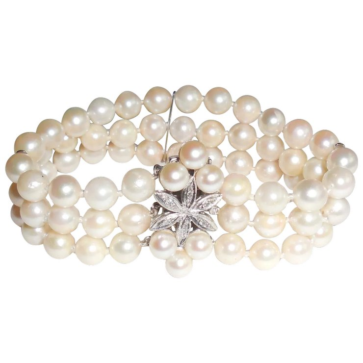 Vintage 14k White Gold Diamond 3 Strand Pearl Bracelet 6mm
