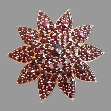 Large 17gr Antique Edwardian 14k Gold Bohemian Garnets Pin Garnet