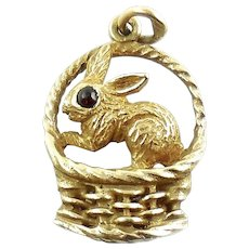 Vintage Mid Century 14k Gold Bunny Rabbit In Basket Charm or Pendant