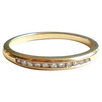 14K Gold Narrow Diamond Stacking Ring Band Stacker Late Mid Century