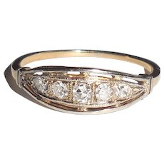 Edwardian Art Deco 14K Yellow Gold Diamond Ring Band or Stacker Stacking