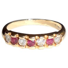 Vintage Late Art Deco 14K Gold Ruby Diamond Ring Band Stacker Stacking Size 6