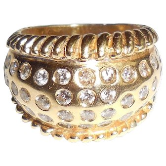 Vintage 14K Gold Diamond Cigar Band Bangle Ring 6.75 Large Heavy