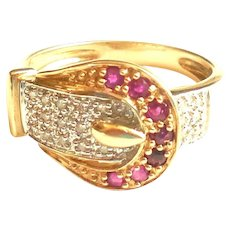 14K Gold Ruby Diamond Stationary Buckle Ring Band Size 6.5