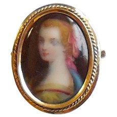 Antique Edwardian 14K Gold Hand Painted Portrait Pin Brooch